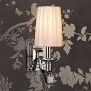 Domina Single Wall Light in Polished Chrome with a White Faux Silk Shades - ENDON DOMINA-1WBNI